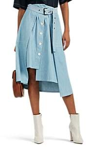 Colovos Women's Buckled Asymmetric Cotton Chambray Skirt - Blue