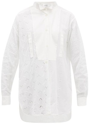 Loewe Broderie Anglaise Cotton Blouse - Womens - White