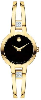 Zales Ladies' Movado AmorosaA 1/15 CT. T.W. Diamond Gold-Tone PVD Bangle Watch with Black Dial (Model: 0607155)