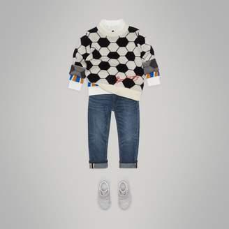 Burberry Football Intarsia Cashmere Wool Cotton Sweater