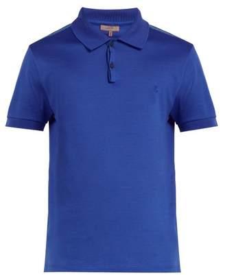 Lanvin Logo Embroidered Cotton Polo Shirt - Mens - Blue