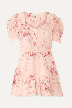 LoveShackFancy Cora Floral-print Silk-georgette Mini Dress