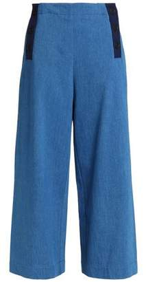 Chinti and Parker Button-Detailed High-Rise Wide-Leg Jeans