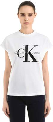 Calvin Klein Jeans Ck Logo Printed Cotton T-Shirt