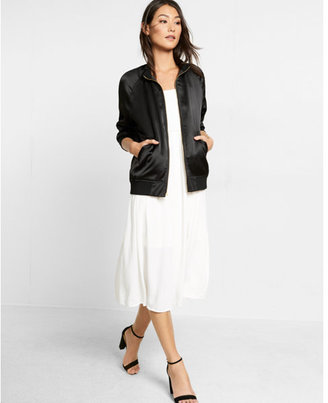 Express shiny cropped sleeve bomber jacket $88 thestylecure.com