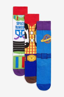 Next Mens Multi Toy Story Outfit Pattern Socks Three Pack - Blue
