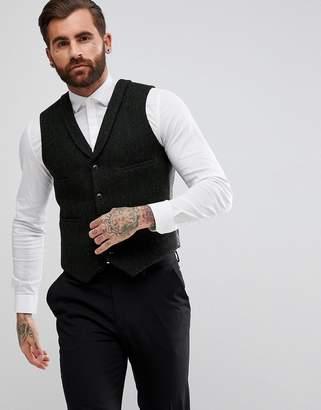Asos DESIGN Slim Vest in Harris Tweed 100% Wool Herringbone