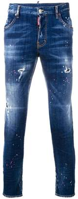 DSQUARED2 paint splattered slim jeans