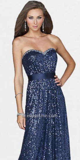 La Femme Sequined Strapless Light Gold Prom Dress