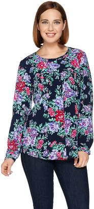 Denim & Co. Floral Printed Button Front Top