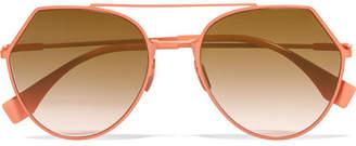 Fendi Aviator-style Metal Sunglasses - Peach