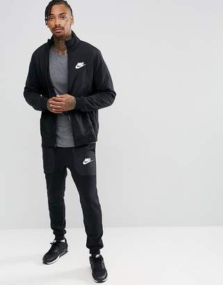 Nike Mixed Fleece Tracksuit Set In Black 863771-010