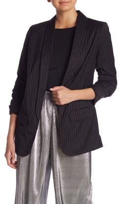 Kensie Pinstripe Open Front Ruched Sleeve Jacket
