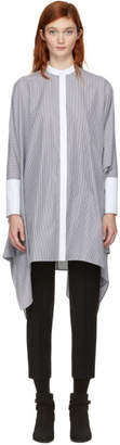 Alexander McQueen White and Black Shirting Stripe Dress