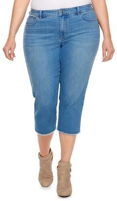 JLO by Jennifer Lopez Plus Size Raw-Edge Capri Jeans