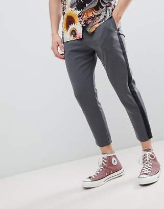 Pull&Bear Trousers With Side Stripe In Grey