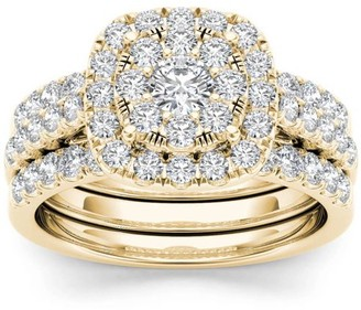Imperial Diamond Imperial 1-1/2 Carat T.W. Diamond Single Halo Cluster Two-Band 14kt Yellow Gold Engagement Ring Set