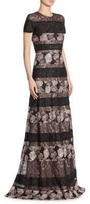 ML Monique Lhuillier Short Sleeves Lace Gown