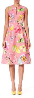 Carolina Herrera Sleeveless Floral Stretch Cotton Knee Length Dress