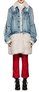 Sacai Women's Faux-Fur-Trimmed Denim Coat - Lt Blue, lt grey