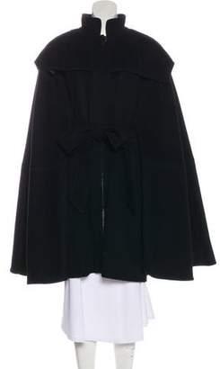 Zac Posen Wool Tie-Front Cape