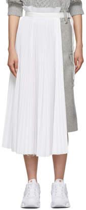 Sacai Grey and White Melton Contrast Skirt