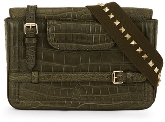 Call Of The Wild Valentino Garavani Crocodile-Embossed Leather Messenger Bag