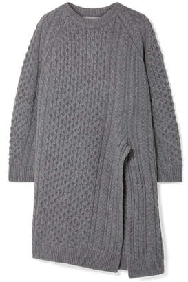Stella McCartney Oversized Asymmetric Cable-knit Wool And Alpaca-blend Sweater - Gray
