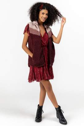 francesca's Charity Sherpa Color-Block Vest - Burgundy
