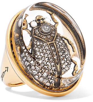 Alexander McQueen Gold-tone Multi-stone Ring