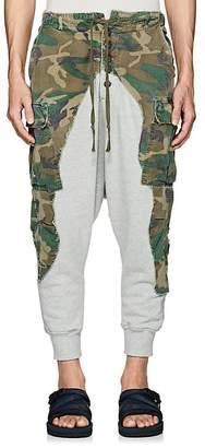 Greg Lauren Men's Camouflage Cotton Drop-Rise Lounge Pants