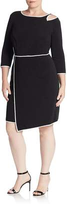 ABS by Allen Schwartz ABS, Plus Size Women's Bodycon Cutout-Detail Asymmetrical Dress - Black, Size 0x (10-12)
