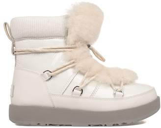 UGG White Patent Leather Highland Waterproof Low Boot