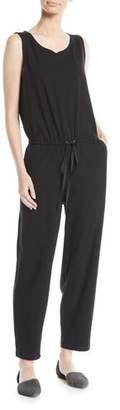 Eileen Fisher Sleeveless Drawstring-Waist Jumpsuit, Plus Size