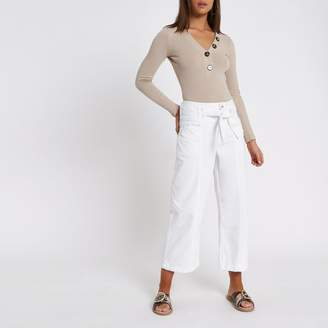 River Island Womens White denim belted culottes