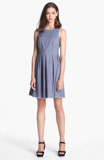 Donna Morgan Chambray Fit & Flare Dress