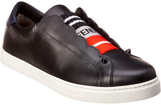 Fendi Scalloped Leather Slip-On Sneaker