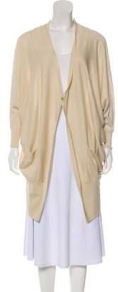 Halston Metallic Oversize Cardigan Beige Metallic Oversize Cardigan