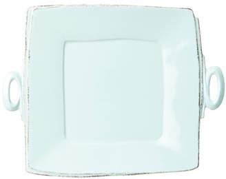 Vietri Lastra Handled Square Platter, Aqua