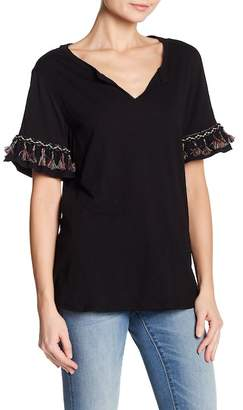 Democracy Crochet Lace & Tassel Trim Tee