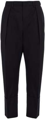 Wooyoungmi Tapered Leg Cropped Wool Trousers - Mens - Navy