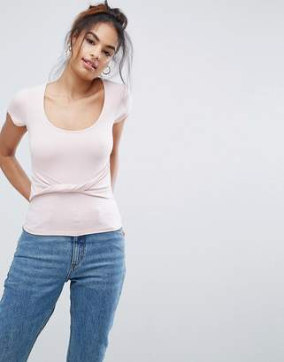 Asos DESIGN Top with Cap Sleeve and Twist Front Detail