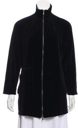 Sonia Rykiel Velvet Zip Front Sweatshirt
