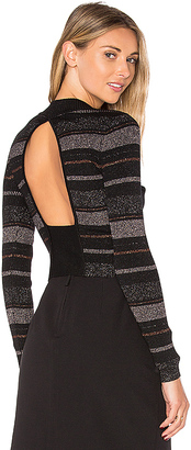 KENDALL + KYLIE Lurex Stripe Long Sleeve Sweater in Black $198 thestylecure.com