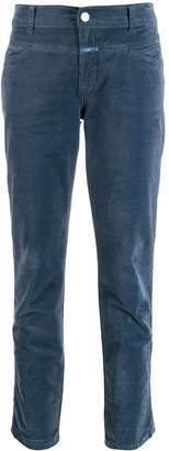 Closed slim fit corduroy trousers