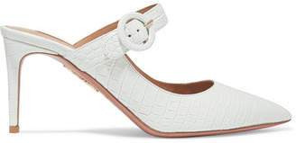 Aquazzura Blossom Croc-effect Leather Mules - White