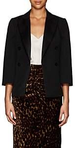 Lanvin Women's Satin-Trimmed Wool Double-Breasted Blazer - Black