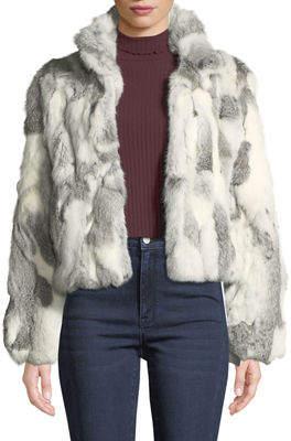 Adrienne Landau Cropped Textured Rabbit Fur Coat