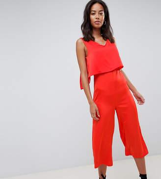Glamorous Tall Sleeveless Jumpsuit With Overlay