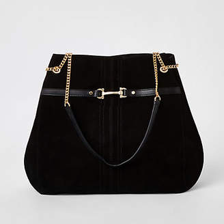 River Island Black suede leather snaffle front slouch bag